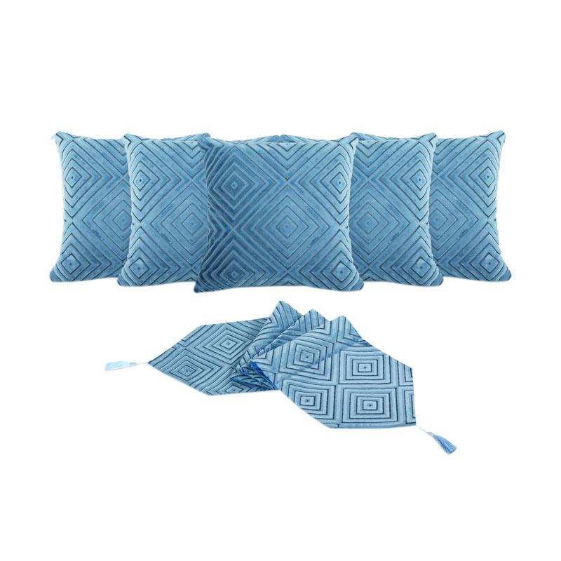 Tren-D-Home Bludru Aksen Dekorative Sarung Bantal Sofa [ 40 x 40 cm/ 5 pcs] + Runner Taplak Meja [33 x 150 cm] - Biru