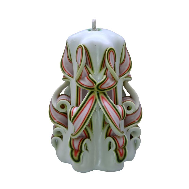 Indische Candle House Angel's Smile Lilin Ukir - White Green [4 Inch]