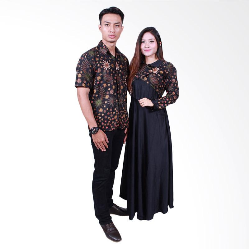 Batik Putri Ayu Solo SRG500 Sarimbit Gamis Batik Couple - Hitam
