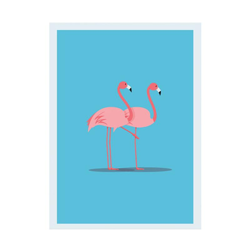 Cadrehome Two Flamingo A4 Dekorasi Dinding
