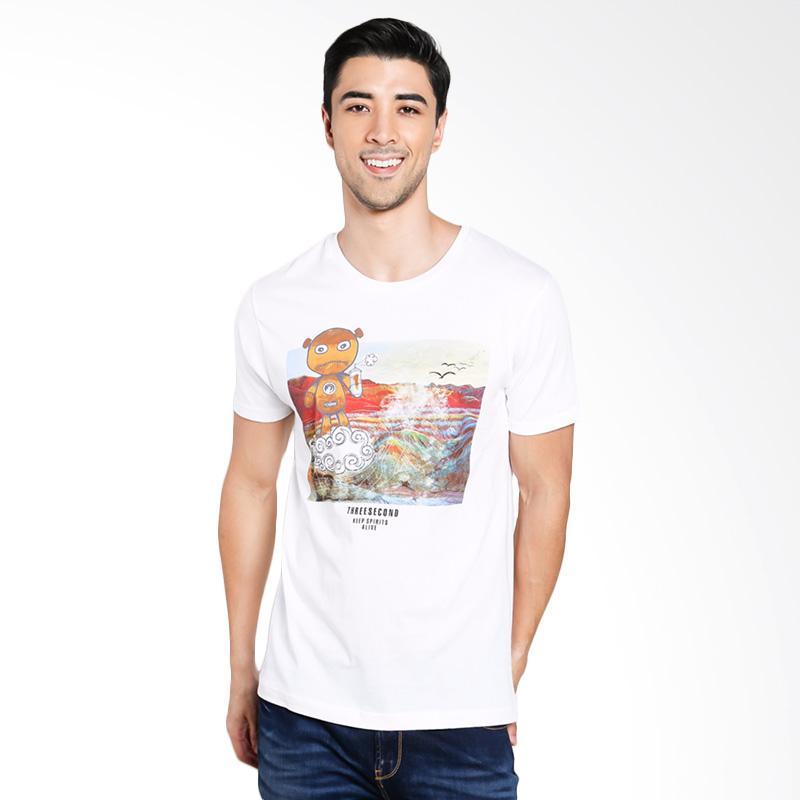 3SECOND Men 0201 T-Shirt Pria - White