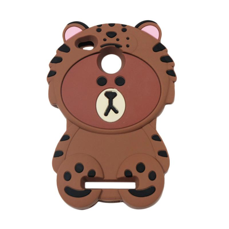 QCF 4D Karakter Beruang Kostum Singa Silicone Softcase Casing for Xiaomi Redmi 3 Pro - Coklat