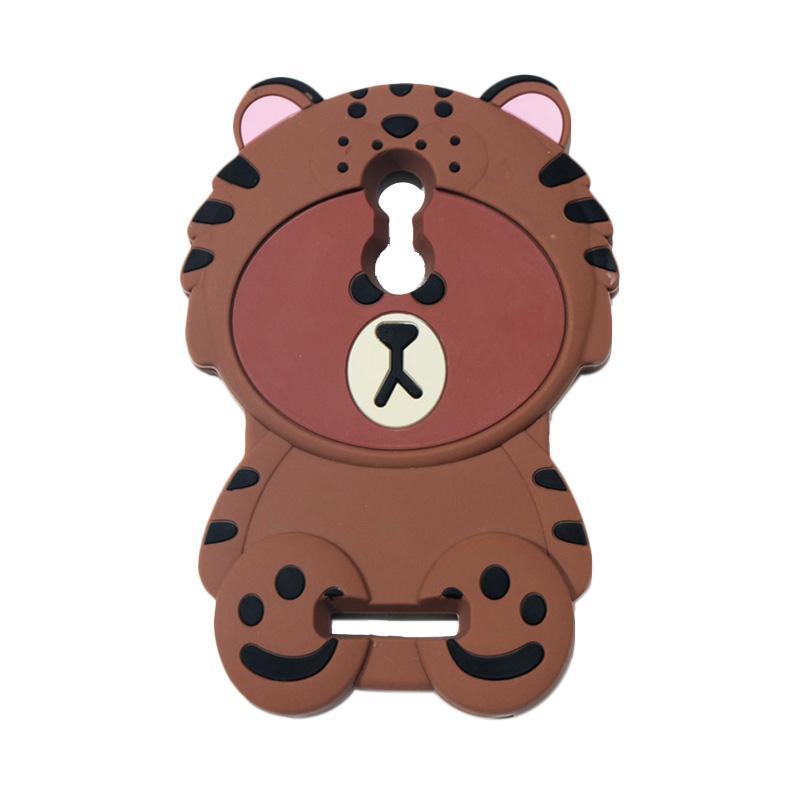 QCF 4D Karakter Beruang Kostum Singa Silicone Softcase Casing for Xiaomi Redmi Note 3 - Coklat