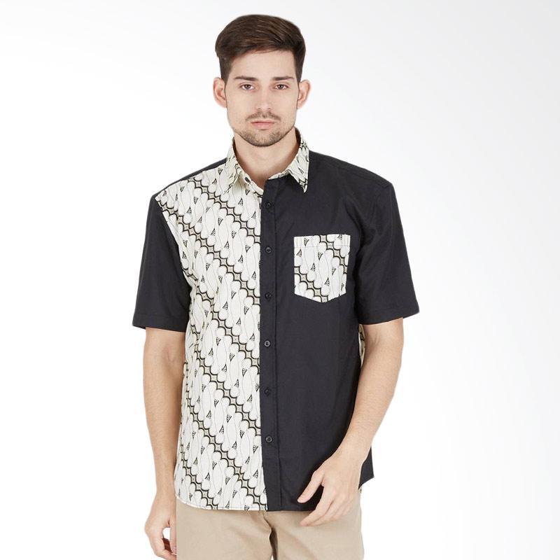 Enzy Batik Men Shirt Parang Kemeja Batik Pria - Black White