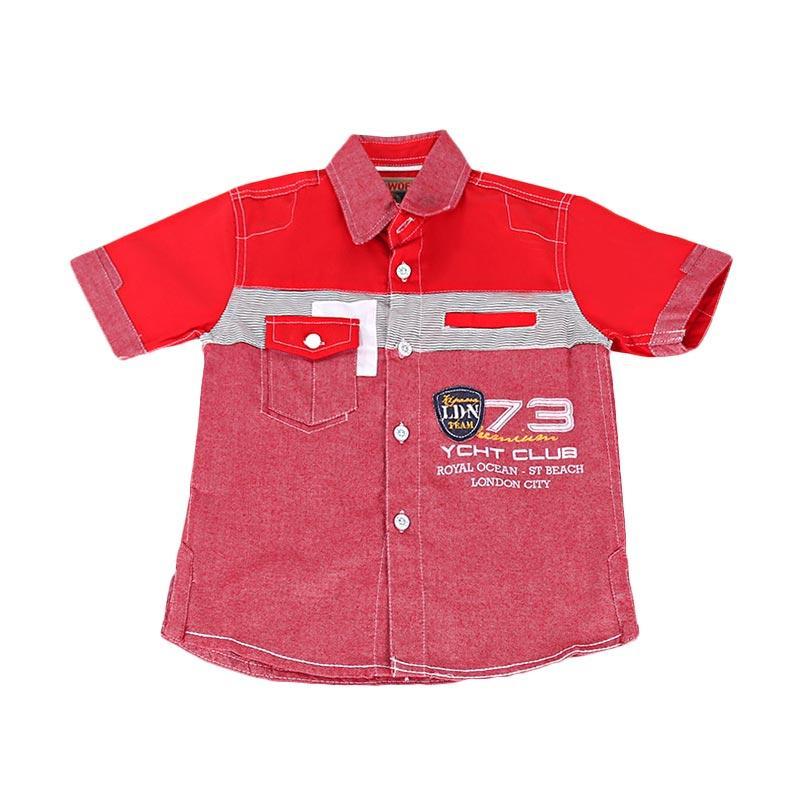 Woffi HK5-04-630 Kemeja Pendek London Team Baju Atasan Anak - Merah