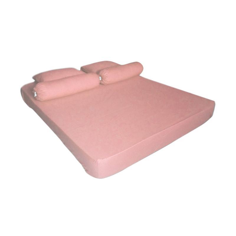 Tren-D-home Polos Series Katun Polyester Set Sprei - Pink Muda Pastel [180 cm x 200 cm x 20 cm]