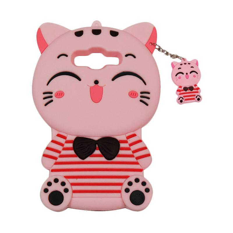 QCF Softcase 4D Karakter Kucing Lucky Cat Pink Silicone 4D Casing for Samsung Galaxy J2 Prime - Pink
