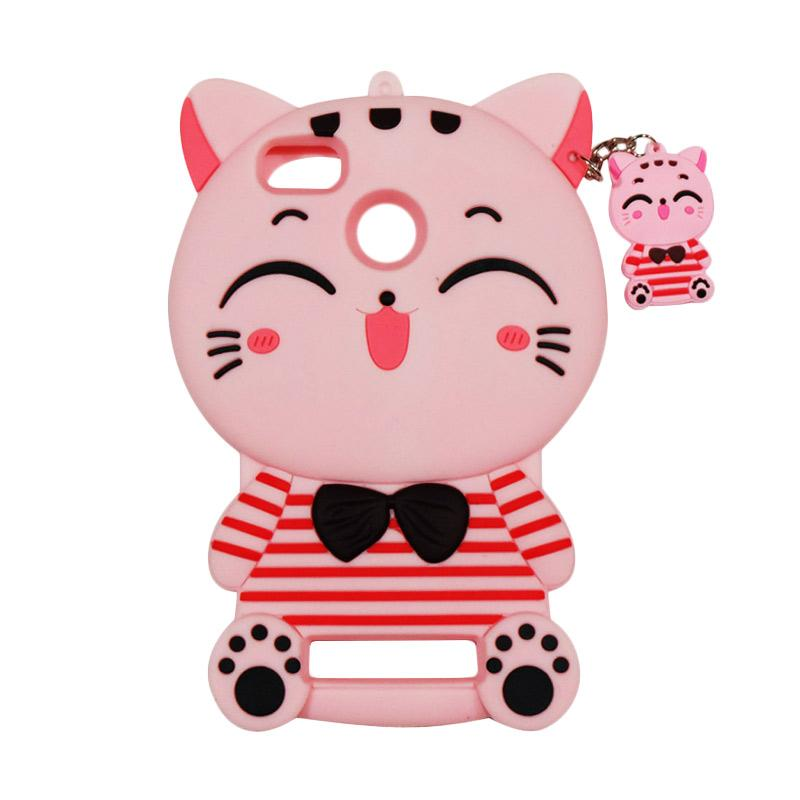 QCF Softcase 4D Karakter Kucing Lucky Cat Pink Silicone 4D Casing for Xiaomi Mi 4C / Mi4c - Pink