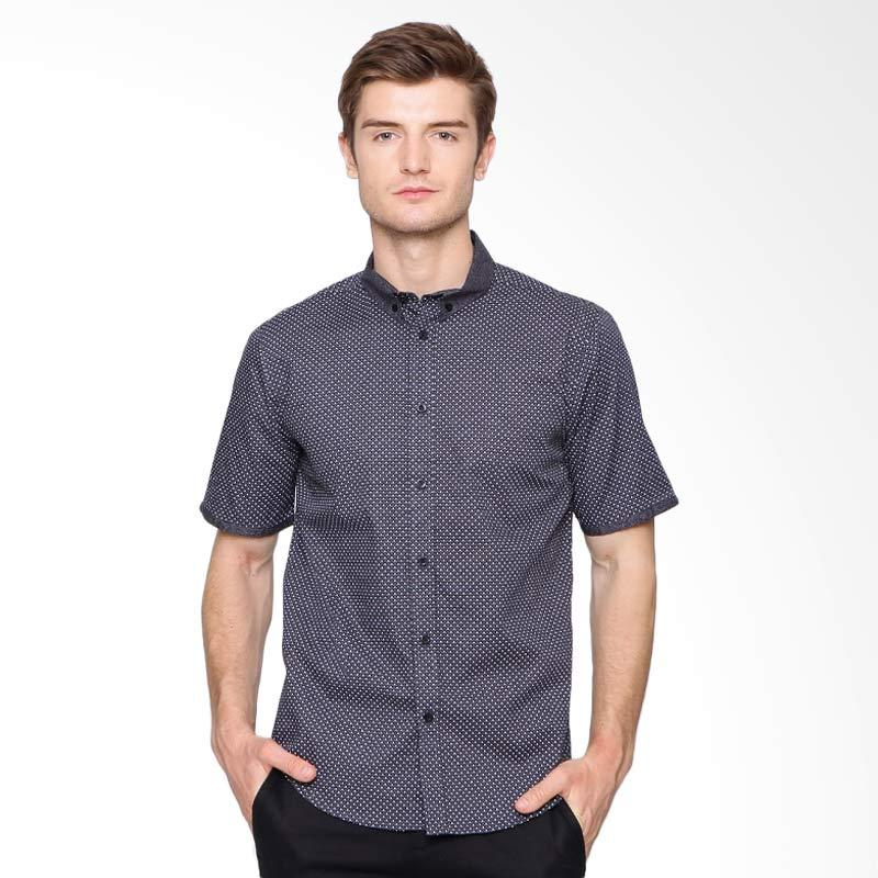 A&D Fashion Mens Casual Short Sleeve Kemeja Pria - Black [Ms 991]