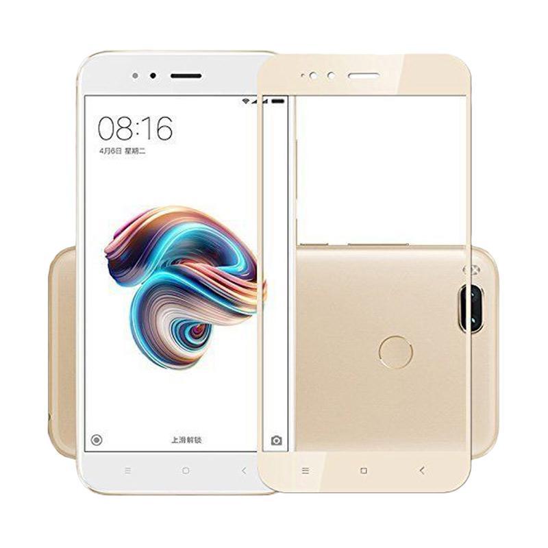QCF Tempered Glass Warna Full Gold (Depan Saja) Screen Protector for Xiaomi Mi A1 / MiA1 Anti Gores Kaca - Gold