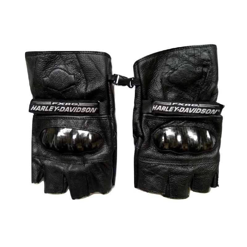 Harley Davidson Kulit Asli Sarung Tangan Half Finger - Black
