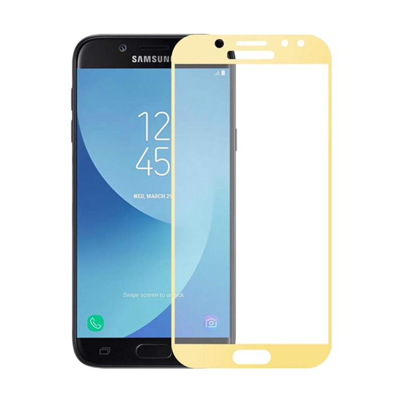 QCF Tempered Glass Screen Protector for Samsung Galaxy J5 Pro 2017 J530 - Gold [Full Black/ Only Front]