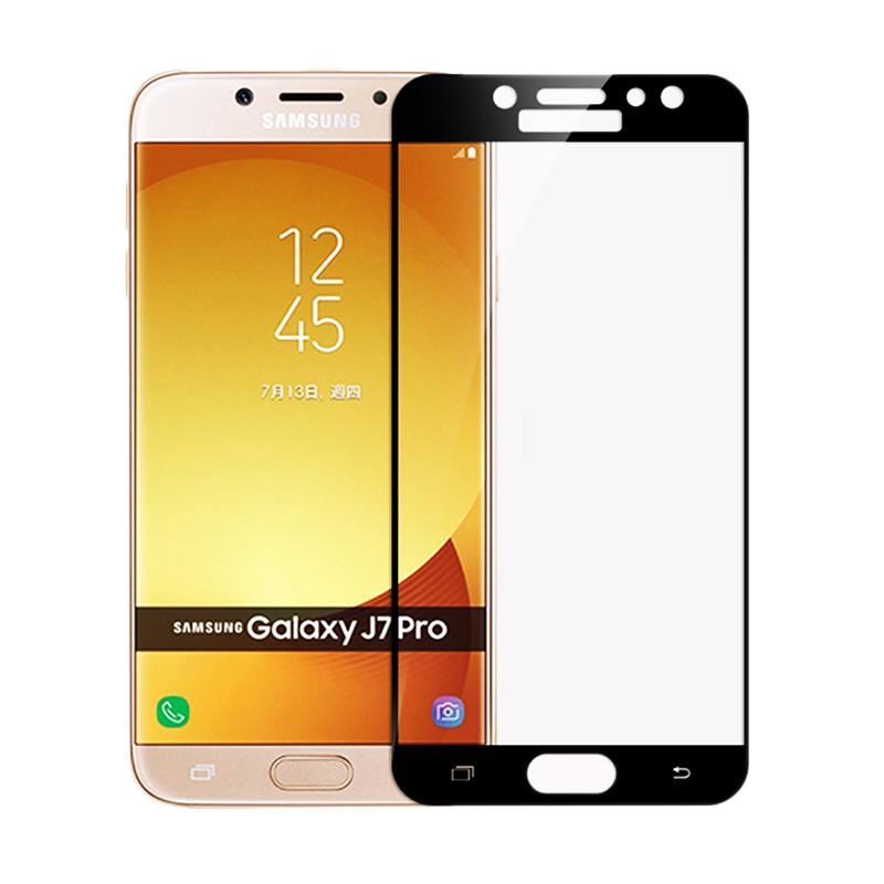 QCF Full Tempered Glass Screen Protector for Samsung Galaxy J7 Pro 2017 - Hitam [Front Only]