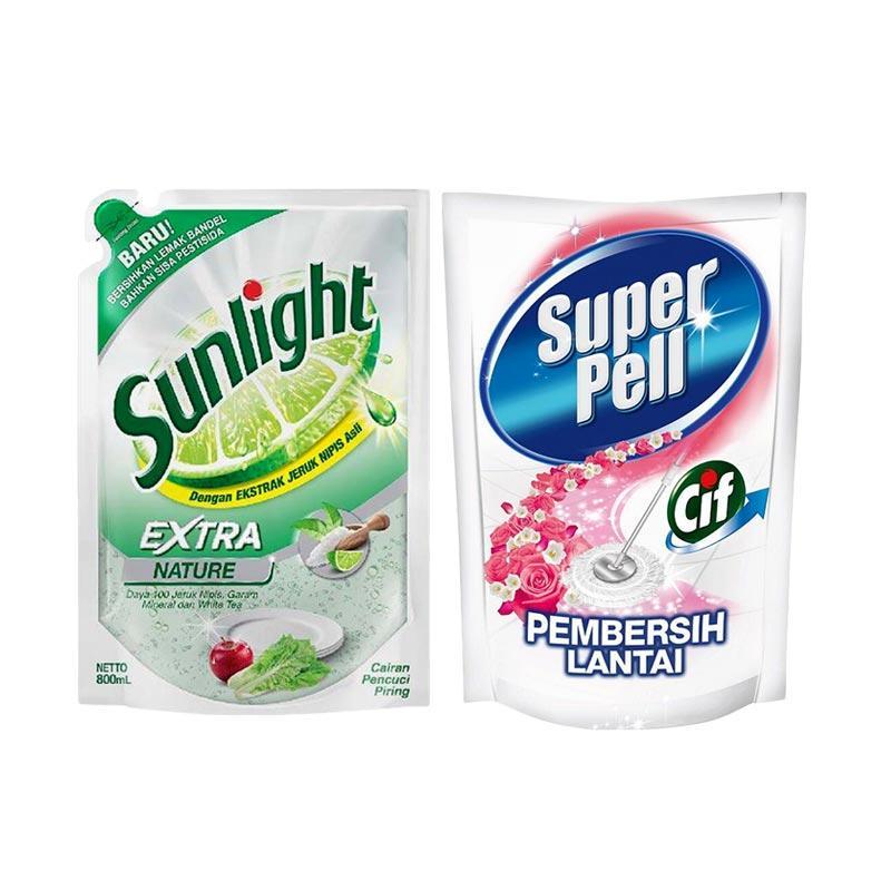 SUNLIGHT Extra Nature Refill [800 mL] dan Super Pell Pink Refill [800 mL]