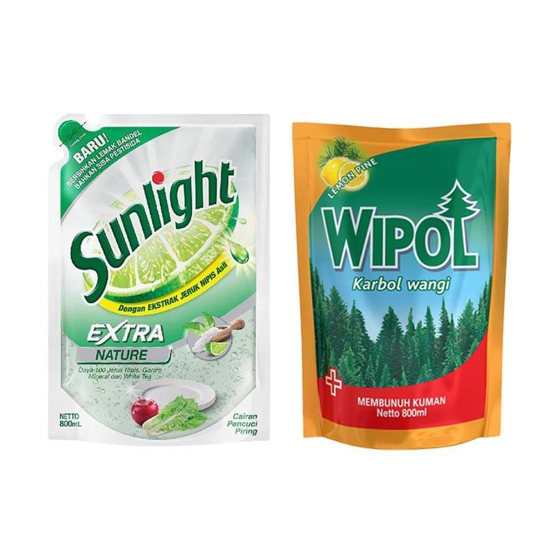 SUNLIGHT Extra Nature Refill Cairan Pencuci Piring [800 mL] dan Wipol Karbol Wangi Lemon Pine Pouch Cairan Pembersih Lantai [800 mL]
