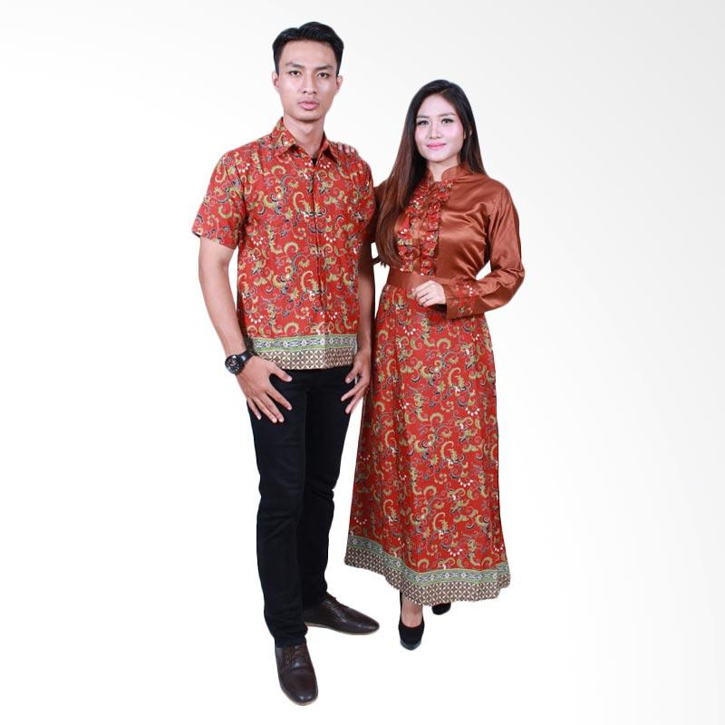 Batik Putri Ayu Solo SRG505 Batik Sarimbit Gamis - Cokelat