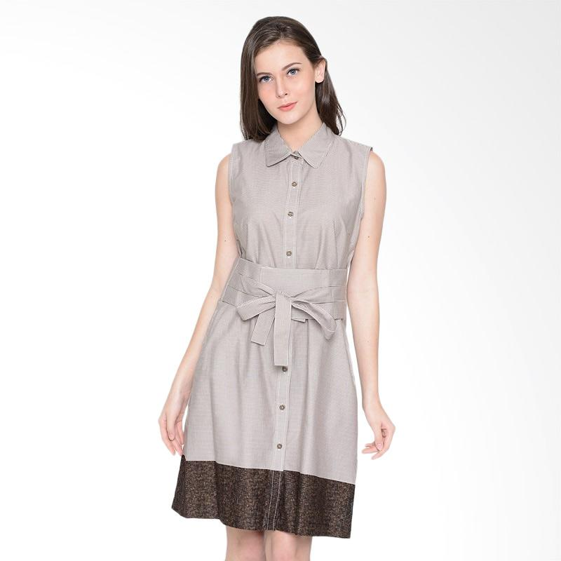 A&D Fashion Ms 1003 Ladies Dress with Belt - Light Brown