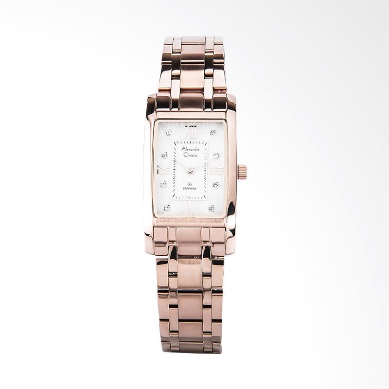Alexandre Christie AC 2666 LH BRGSL Ladies White Pattern Dial Jam Tangan Wanita - Rose Gold