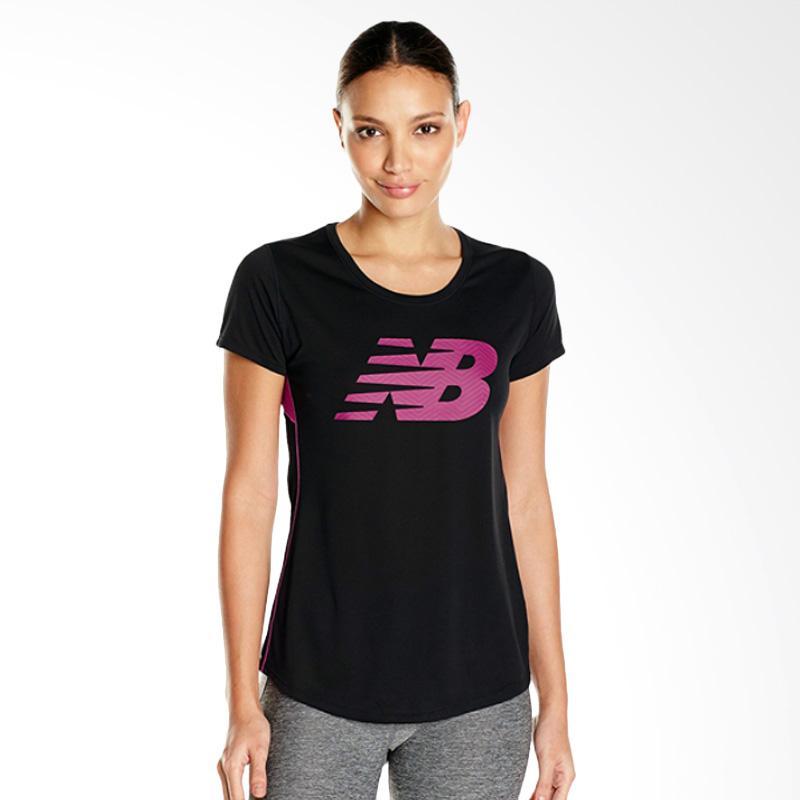 New Balance Accelerate Short Sleeve Kaso Olahraga Wanita - Black Purple [WT53162J]