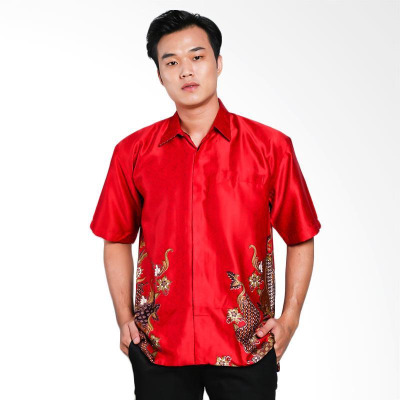 Blitique Abinawa Salur Kemeja Batik Pria - Merah