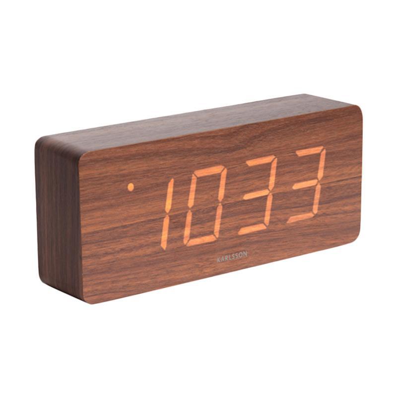 Karlsson Tube Dark Wood Veneer White LED Alarm Clock