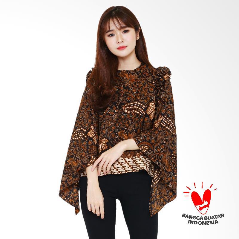 harga Batik Flike Store Atasan Wanita Mille Crepe Blouse Brown Lovers Blibli.com