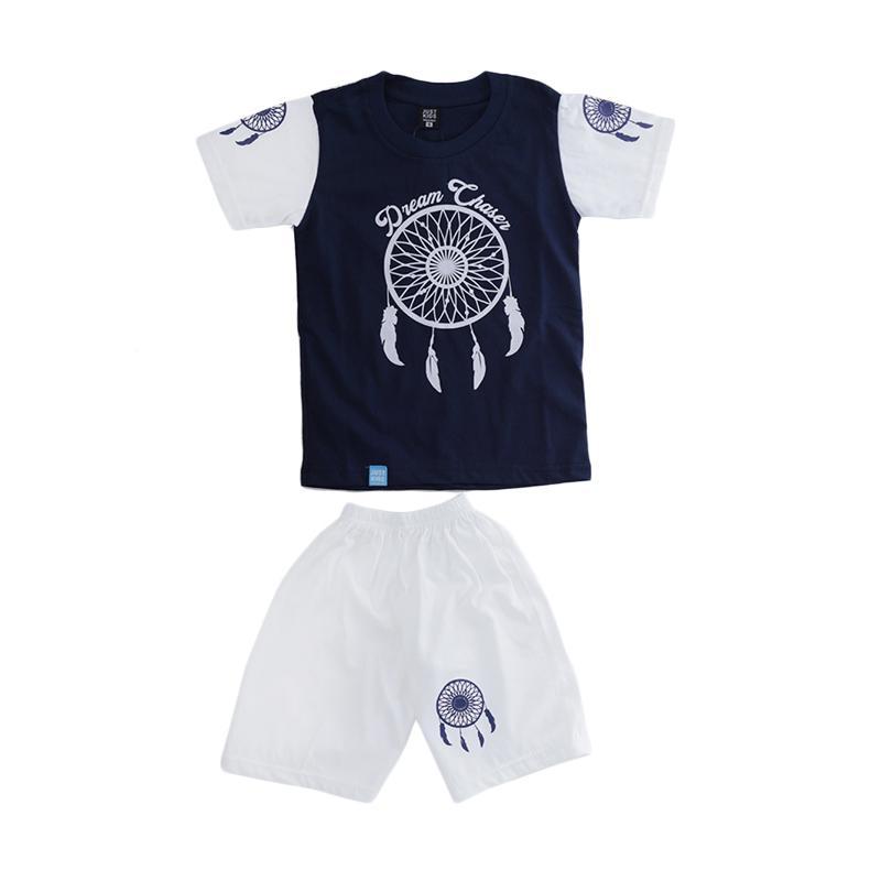 Elfs Shop Sablon Dream Chases Katun Setelan Baju dan Celana Anak Laki-Laki - Biru Dongker