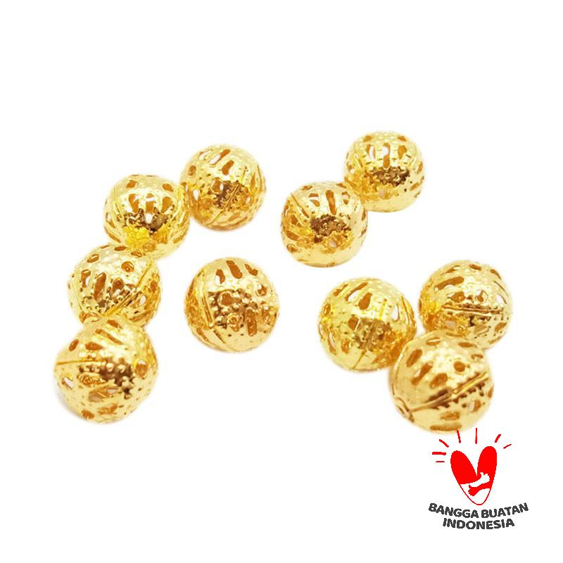 Vee Spacer Bola Manik Penghubung Gold 10 pcs 8mm