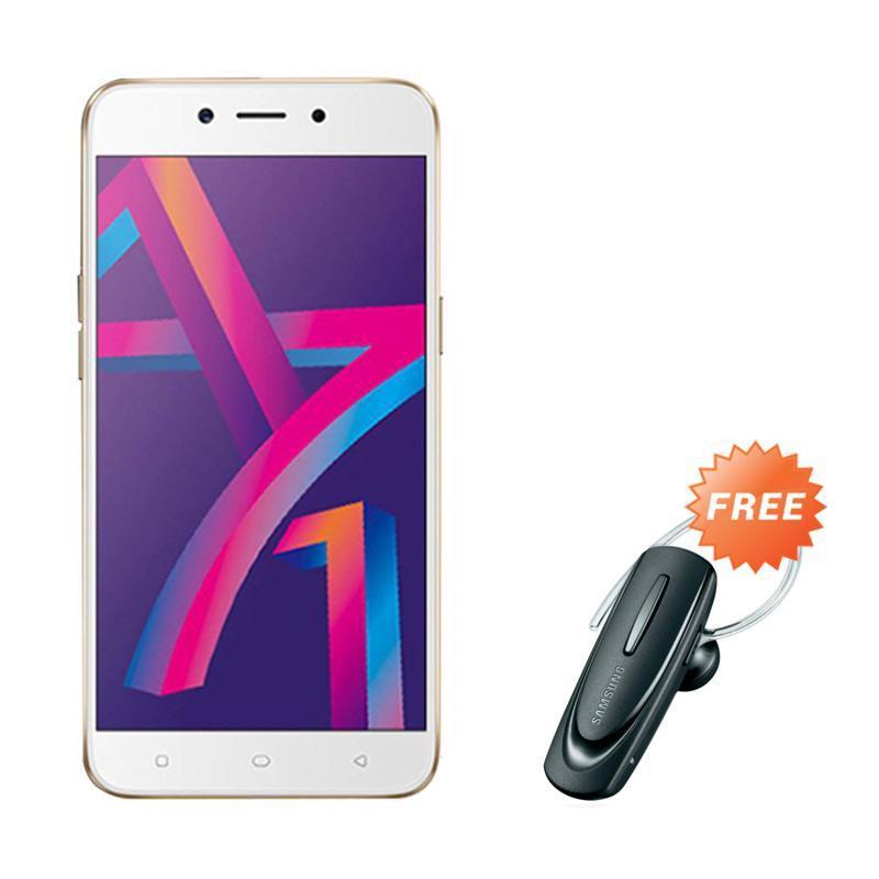 harga OPPO A71 Smartphone - Gold [16 GB/ 2 GB] + Free Headset Bluetooth Blibli.com