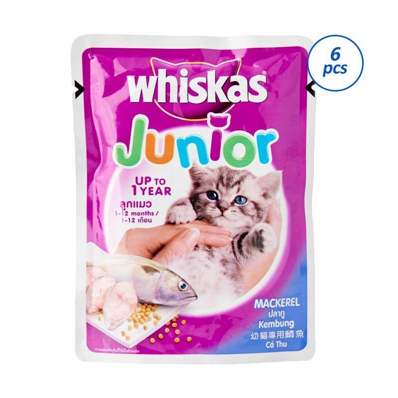 Jual Makanan Kucing Whiskas Junior Mackerel 85 G 6 Pcs