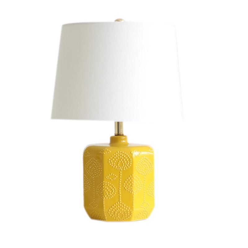 Thema Home Stoneware Yellow Embossed Flowers Table Lamp