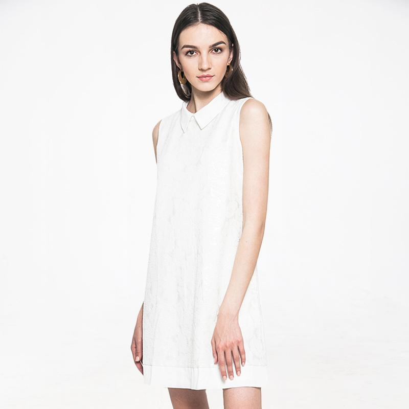 Minimal Emboss Shift Dress Bio White