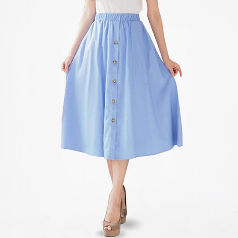 Jo Nic Denim Button Midi Rok Wanita