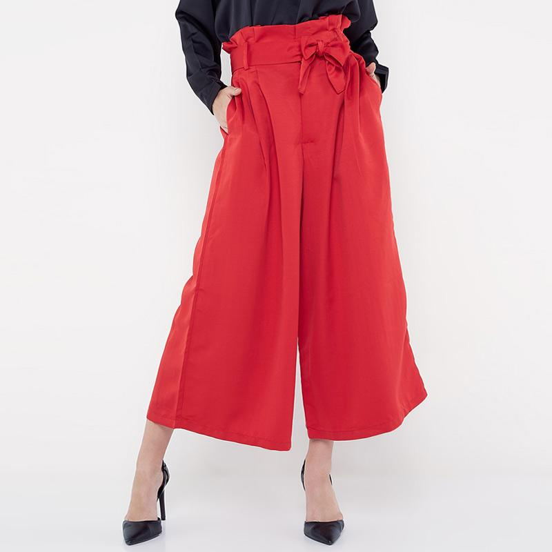 REE Wide Leg Culotte Celana Wanita Red