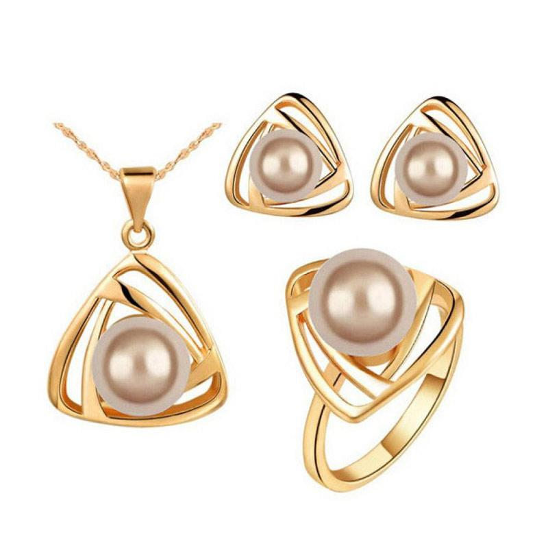 Jual Bluelans Women S Party Faux Pearl Triangle Pendant Necklace
