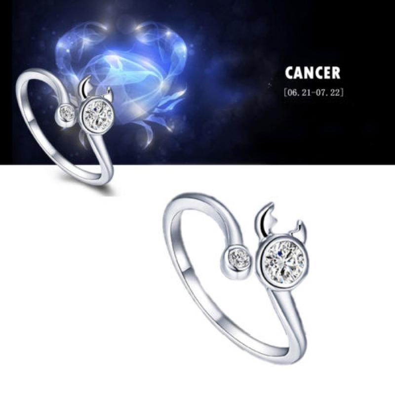 Bluelans Men Women Silver Plated Constellations Adjustable Opening Birthday Gift Cancer Ring Brand