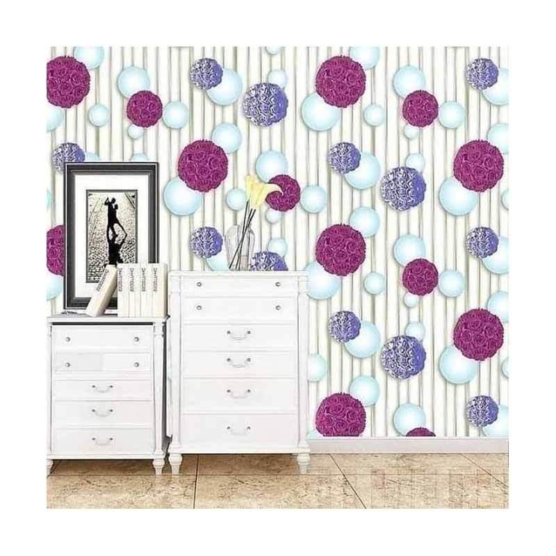 Jual Oem Motif Bola Bunga Wallpaper Dinding Ungu Pink 10 M X 45 Cm Online November 2020 Blibli Com