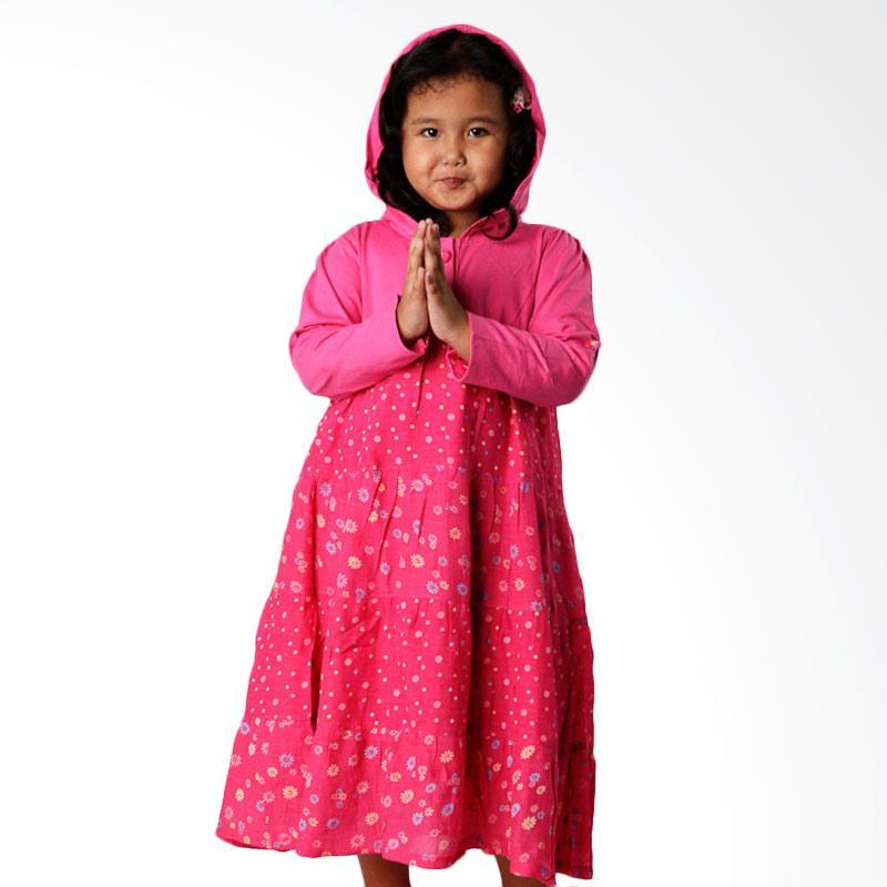 4 You Floral Hoodie Dress Anak - Fuschia