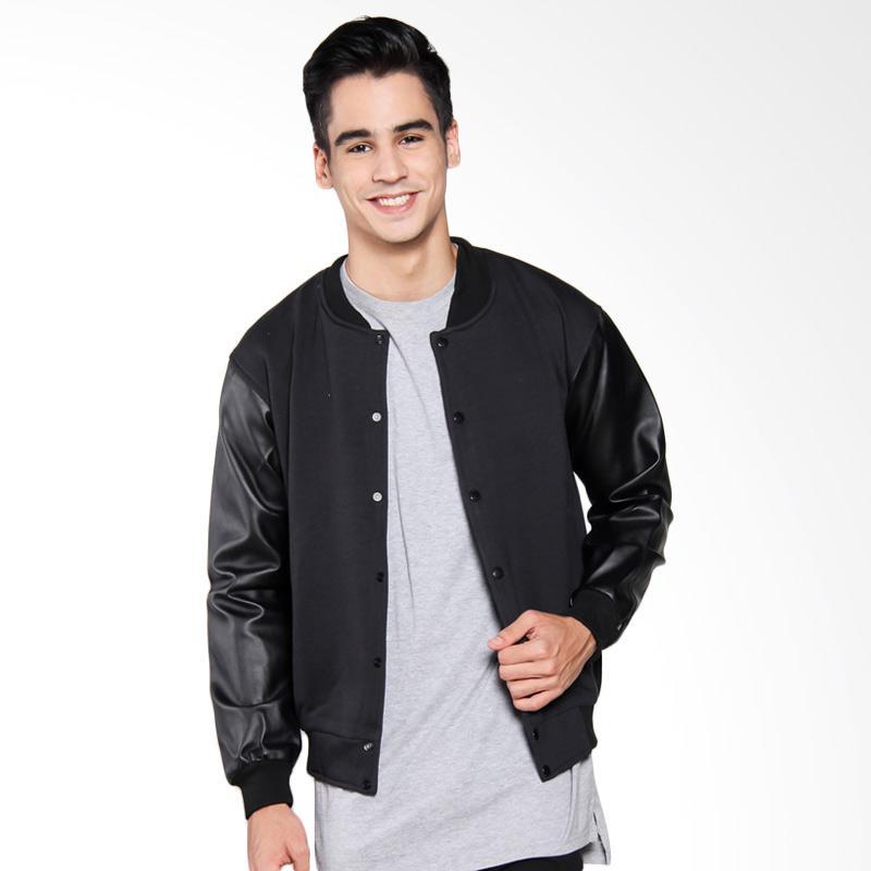 Bafash Varsity Casual Jaket Pria - Black