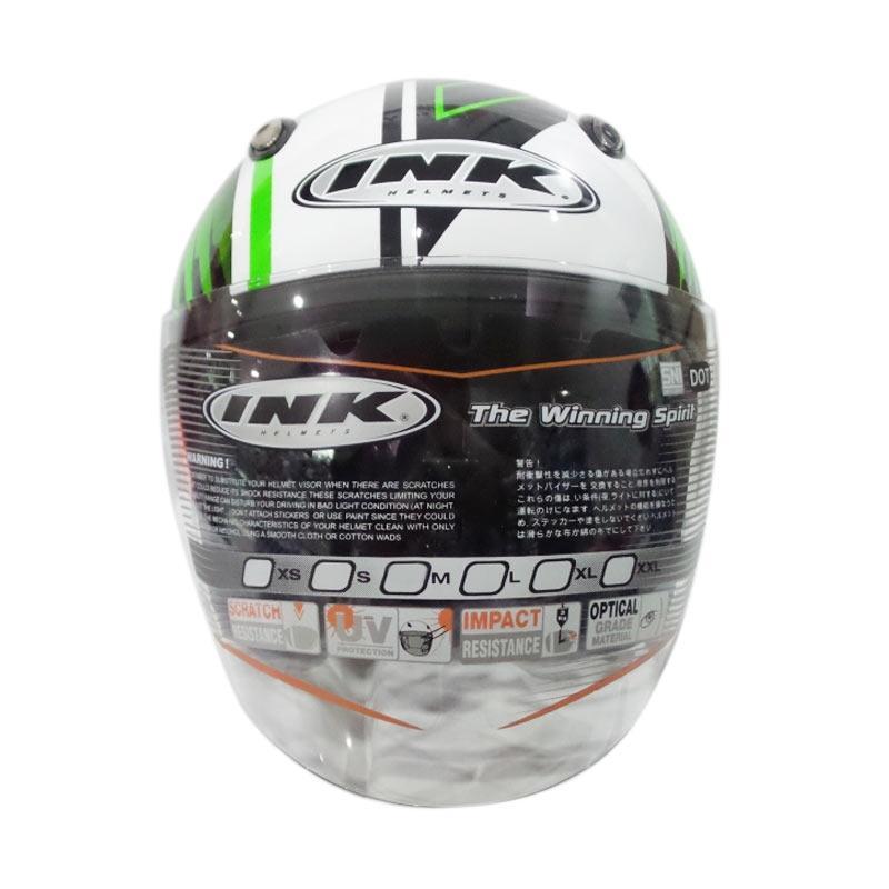 harga INK Centro Jet #9 Helm Half Face - White Green Blibli.com