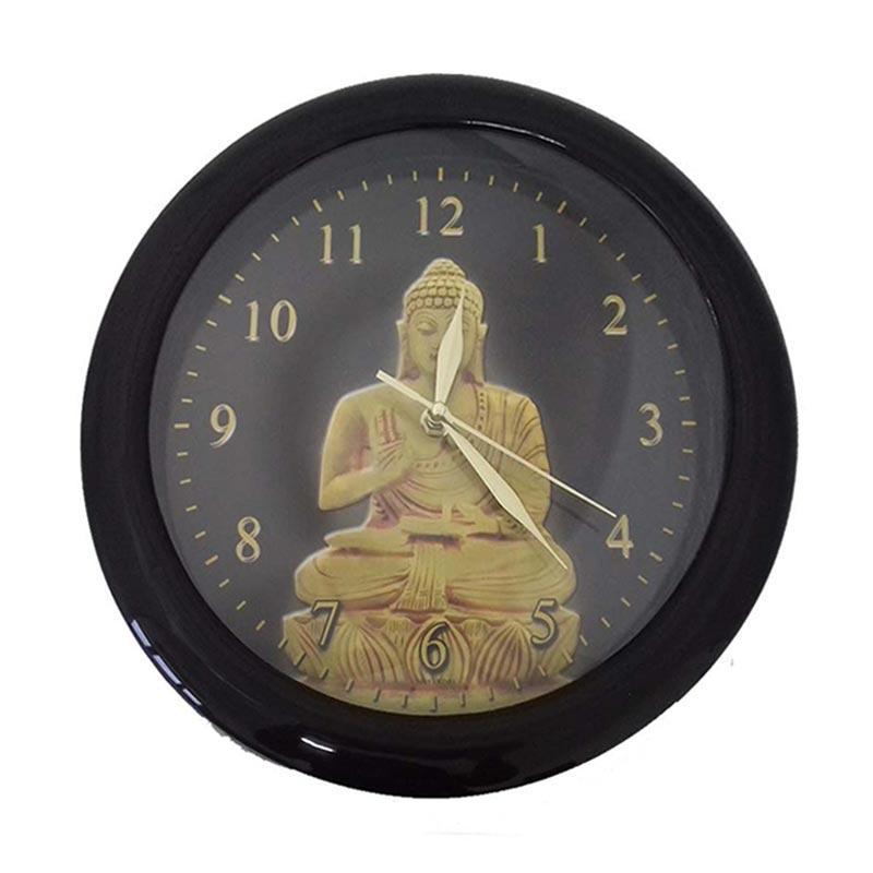 TJ BD 01 Motif Budha Jam Dinding - Ring Hitam [29 cm]