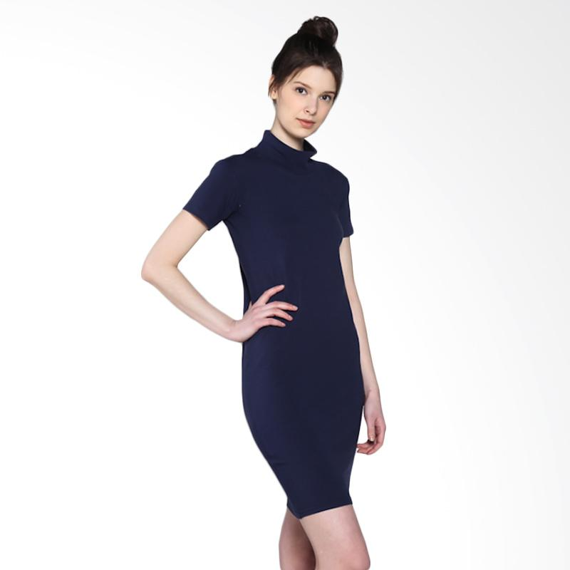 harga Basic Turtleneck Dress Wanita - Navy Blibli.com