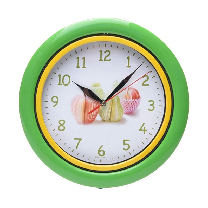 TJ BA 11 Motif Buah Ring Jam Dinding - Green [25 cm]