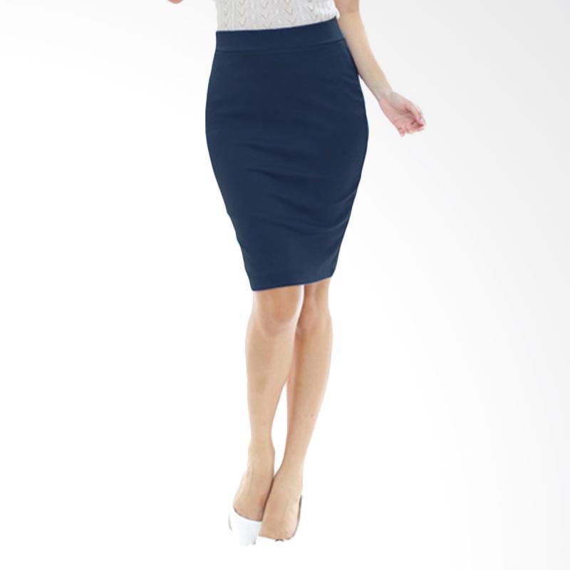 Rasya Rok Wedges Pencil Pendek Skirt - Navy