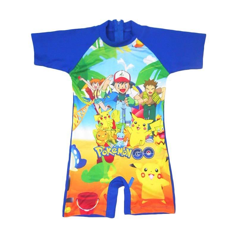 Nice Motif Pokemon Baju Renang Anak - Biru