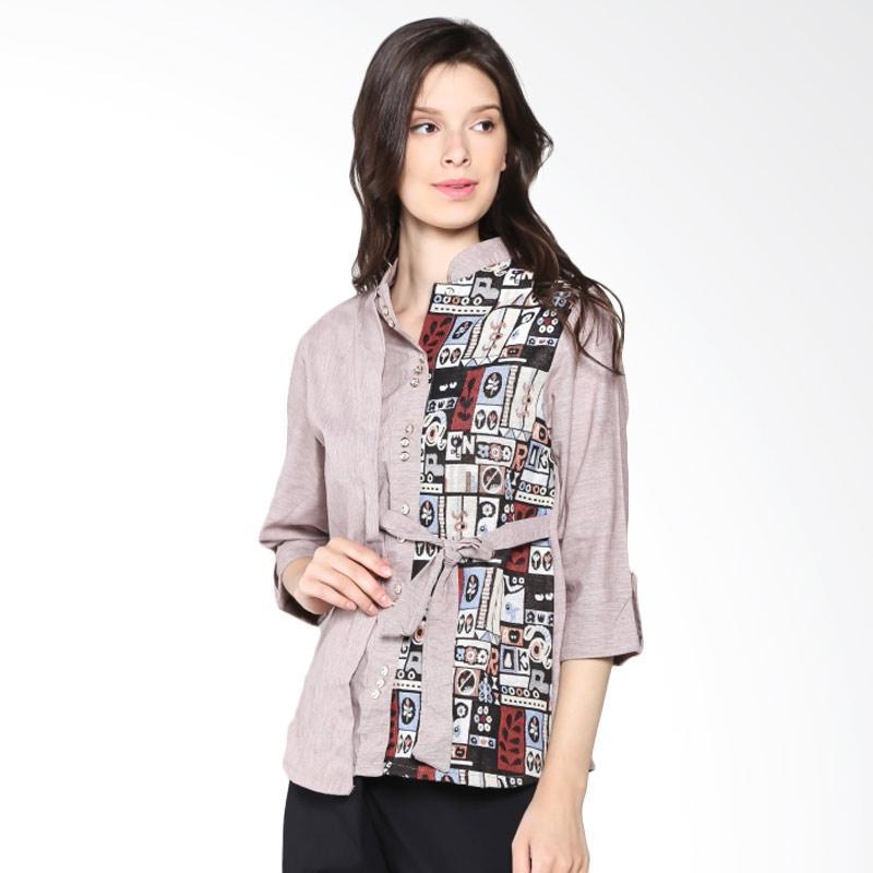 Carte Half Ethnic Blouse Shirt - Brown