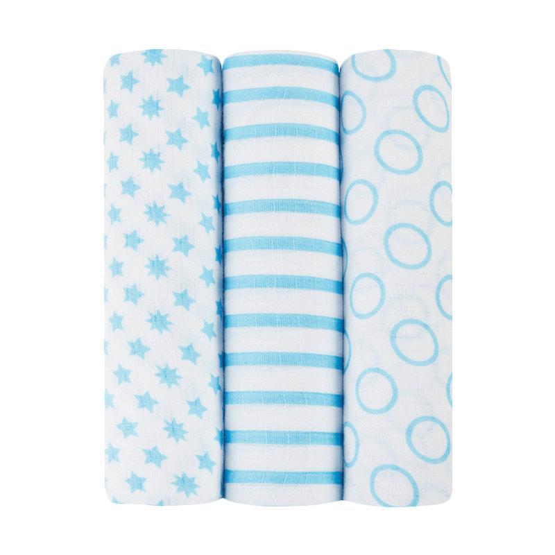 Ideal Baby - 3-pack Muslin Swaddles - Sunny Side - Kain Bedong Bayi dan Anak