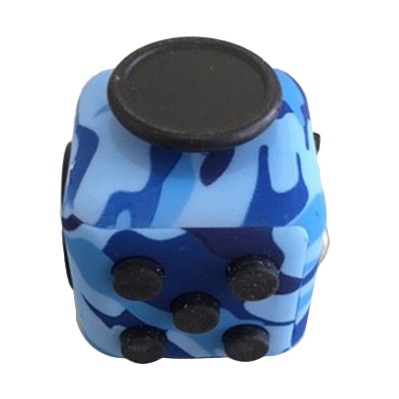 Fidget Cube Mainan Edukasi - Biru Corak Army