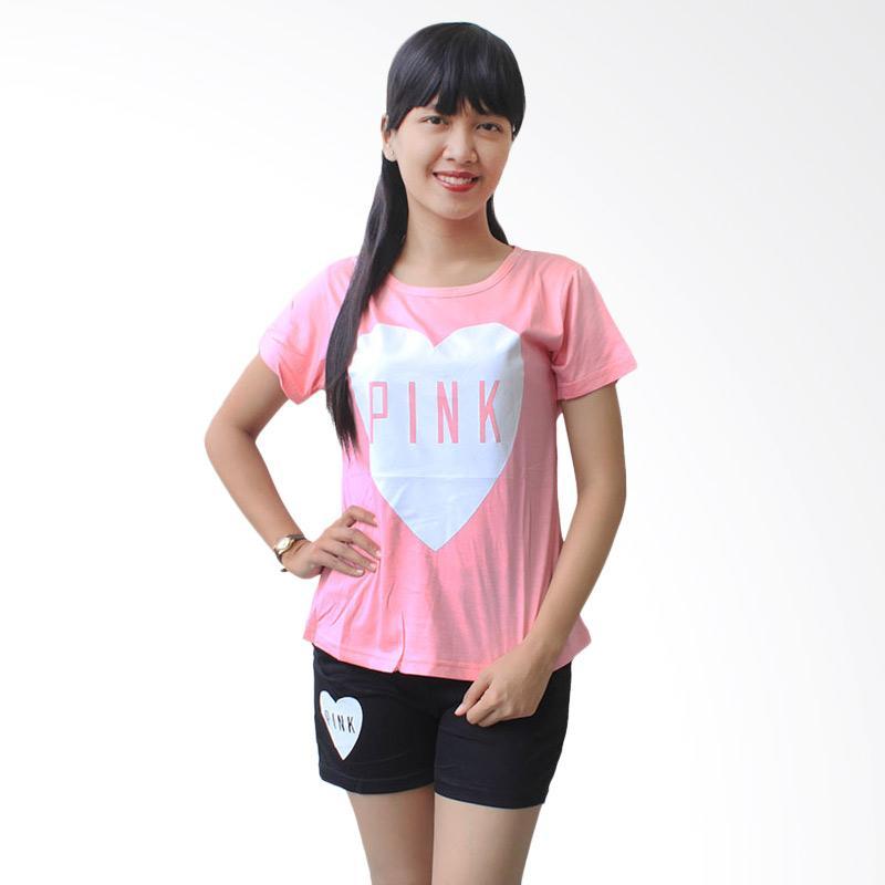 Aily SL018 Setelan Baju Tidur Wanita Love Pink - Pink