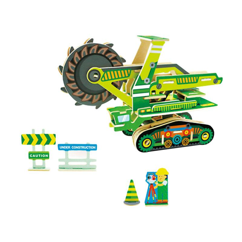 Robotime VC406 DIY 3D Color Wooden Construction Mining Car Mainan Block dan Puzzle